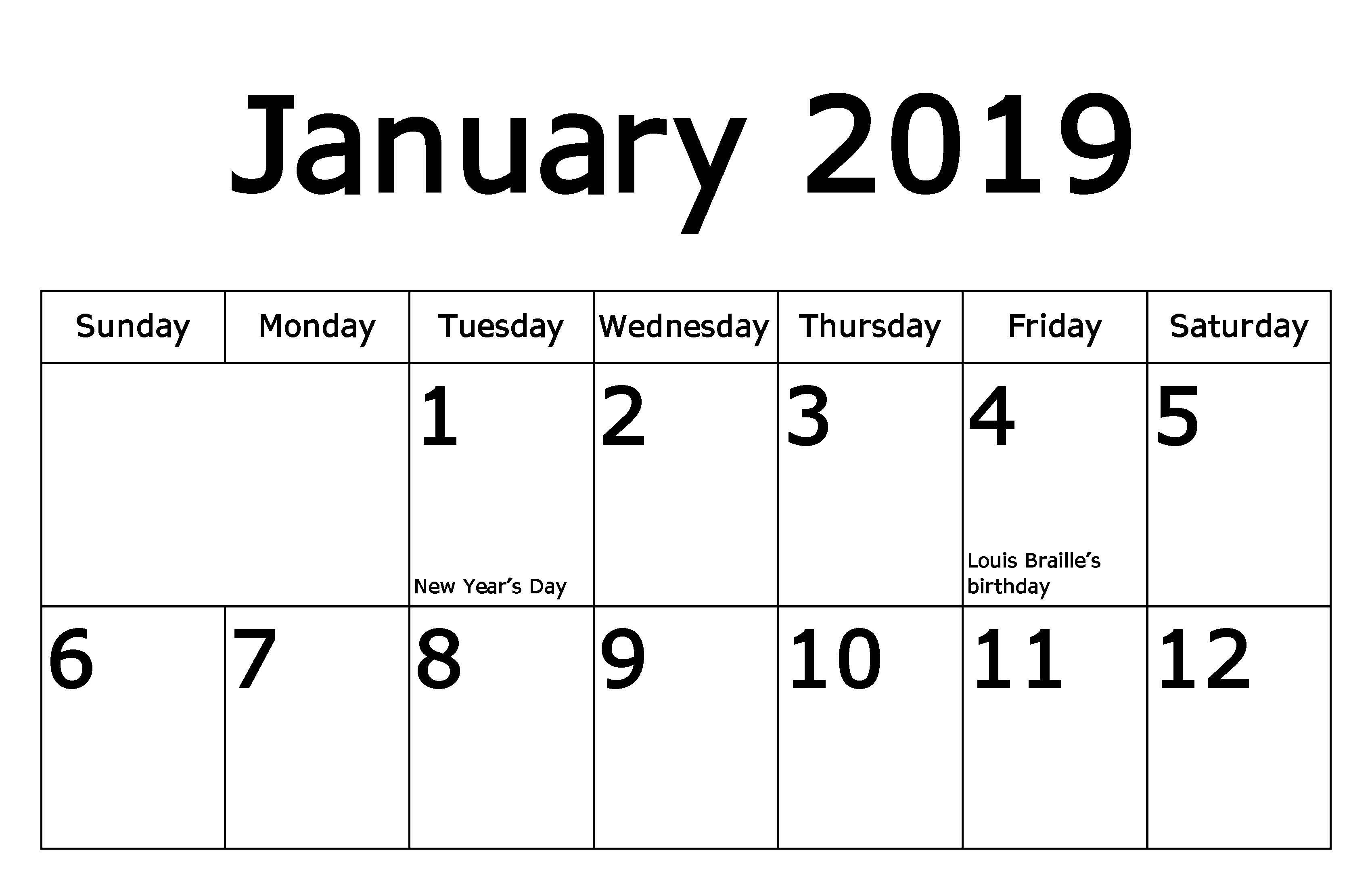 January 2019 calendar - top half
