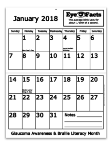 2018 calendar inside